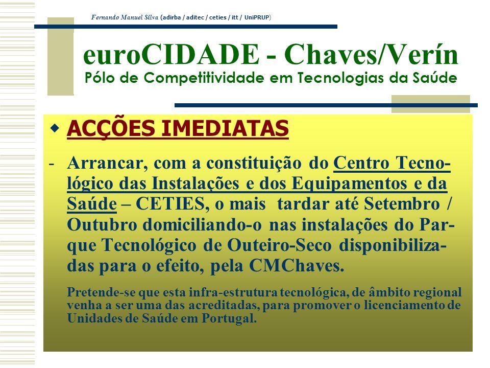 euroCIDADE - Chaves/Verín Pólo de Competitividade em Tecnologias da Saúde ACÇÕES IMEDIATAS -Arrancar, com a constituição do Centro Tecno- lógico das I