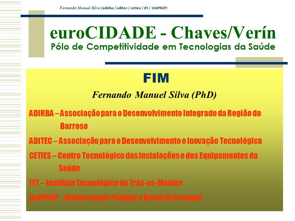 euroCIDADE - Chaves/Verín Pólo de Competitividade em Tecnologias da Saúde FIM Fernando Manuel Silva (PhD) ADIRBA – Associação para o Desenvolvimento I