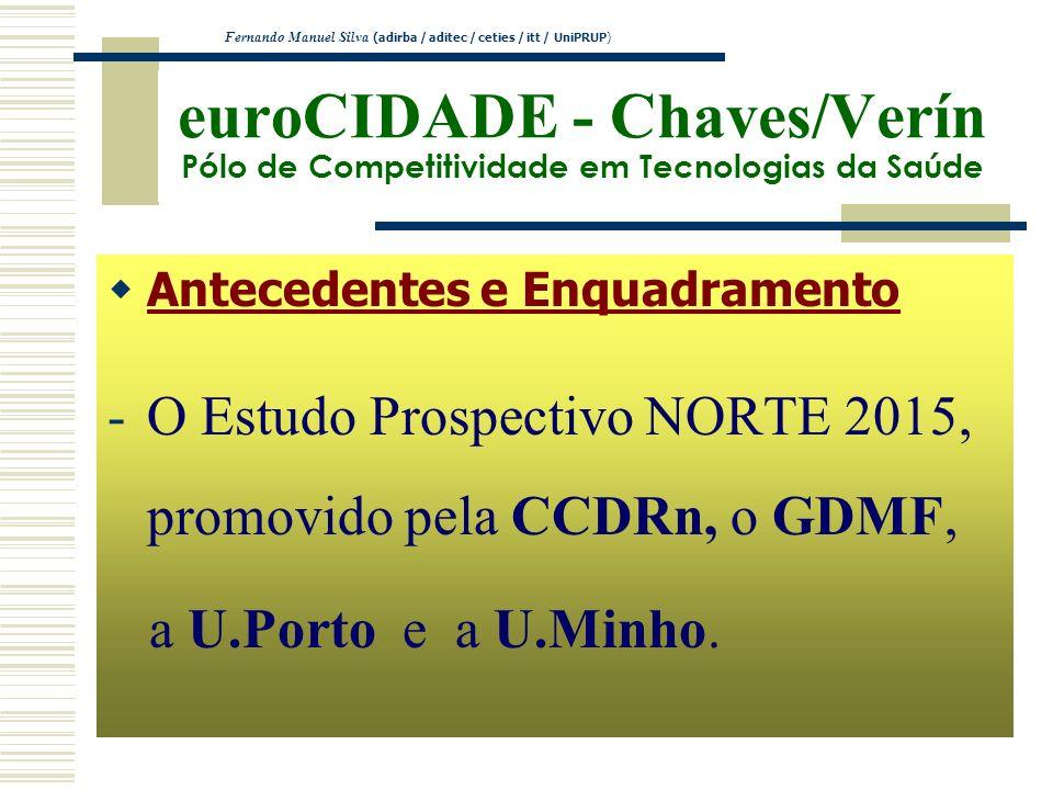 euroCIDADE - Chaves/Verín Pólo de Competitividade em Tecnologias da Saúde Antecedentes e Enquadramento -O Estudo Prospectivo NORTE 2015, promovido pel