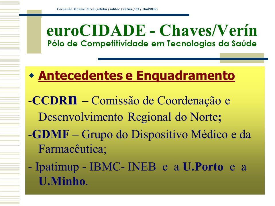 euroCIDADE - Chaves/Verín Pólo de Competitividade em Tecnologias da Saúde Antecedentes e Enquadramento -CCDR n – Comissão de Coordenação e Desenvolvim