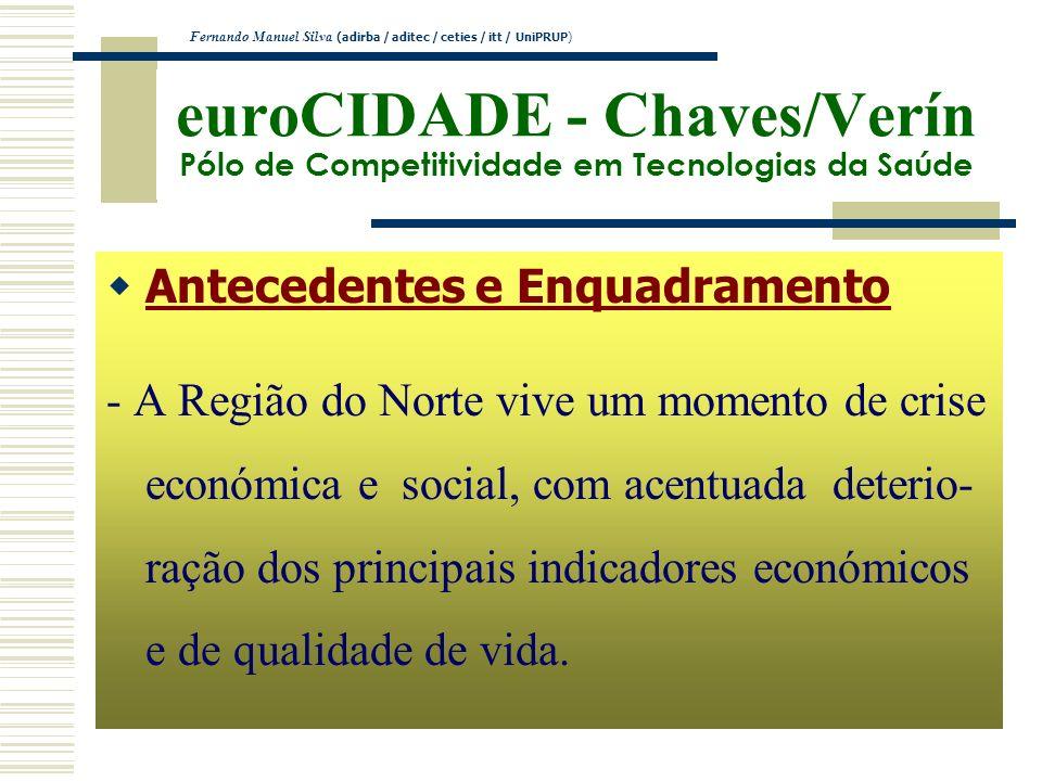 euroCIDADE - Chaves/Verín Pólo de Competitividade em Tecnologias da Saúde Antecedentes e Enquadramento - A Região do Norte vive um momento de crise ec