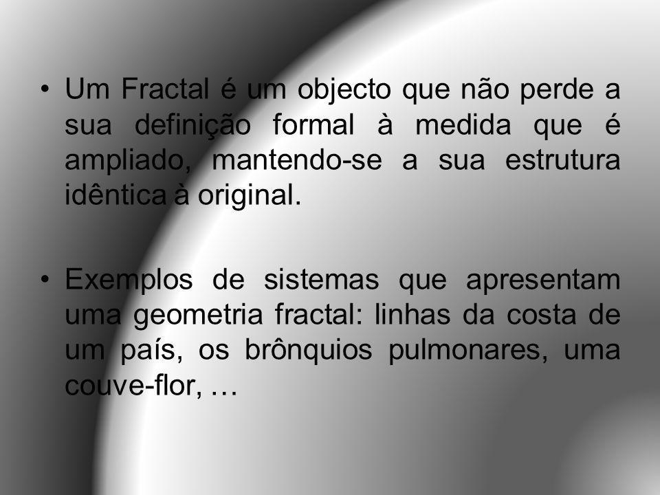 Existem várias figuras matemáticas que são fractais como, por exemplo, o triângulo de Sierpinski, a curva de Koch (ou floco de neve) e a curva de Peano.
