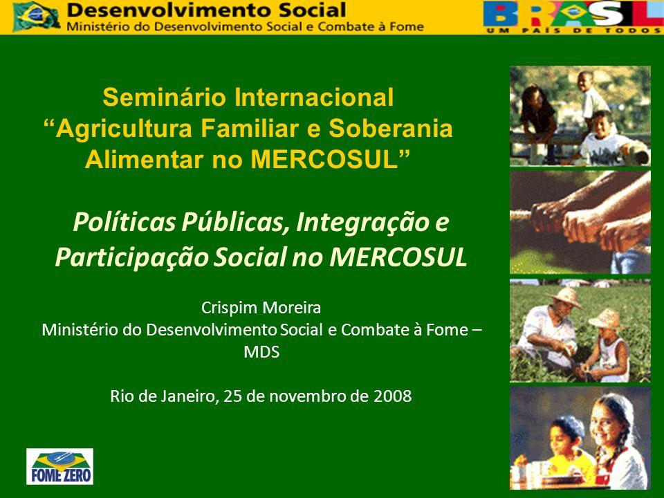 Políticas Públicas, Integração e Participação Social no MERCOSUL Crispim Moreira Ministério do Desenvolvimento Social e Combate à Fome – MDS Rio de Ja