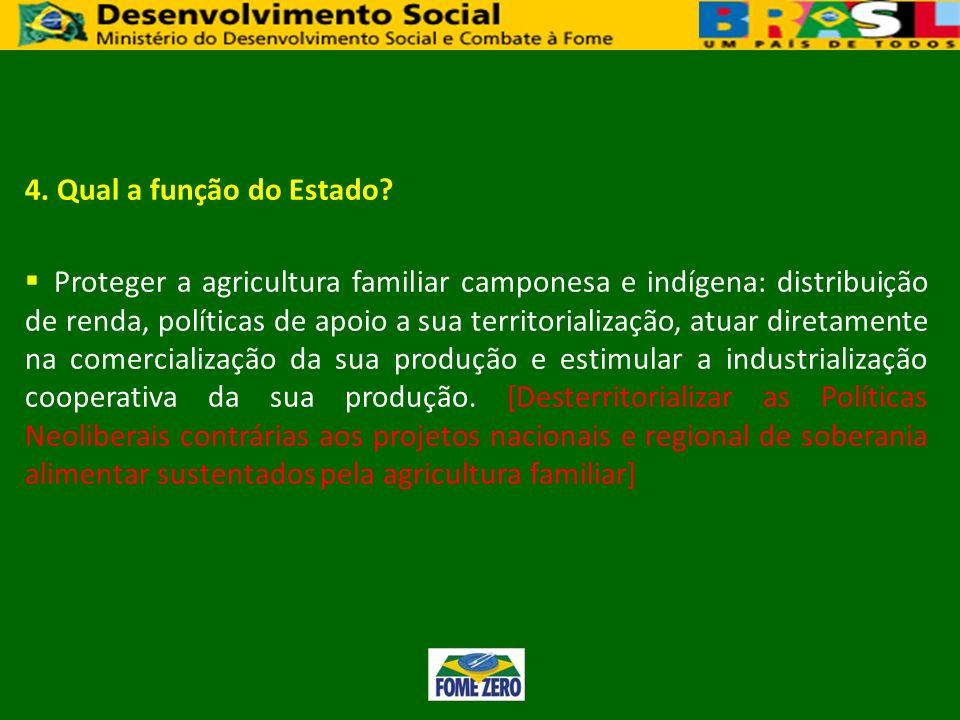 4. Qual a função do Estado? Proteger a agricultura familiar camponesa e indígena: distribuição de renda, políticas de apoio a sua territorialização, a