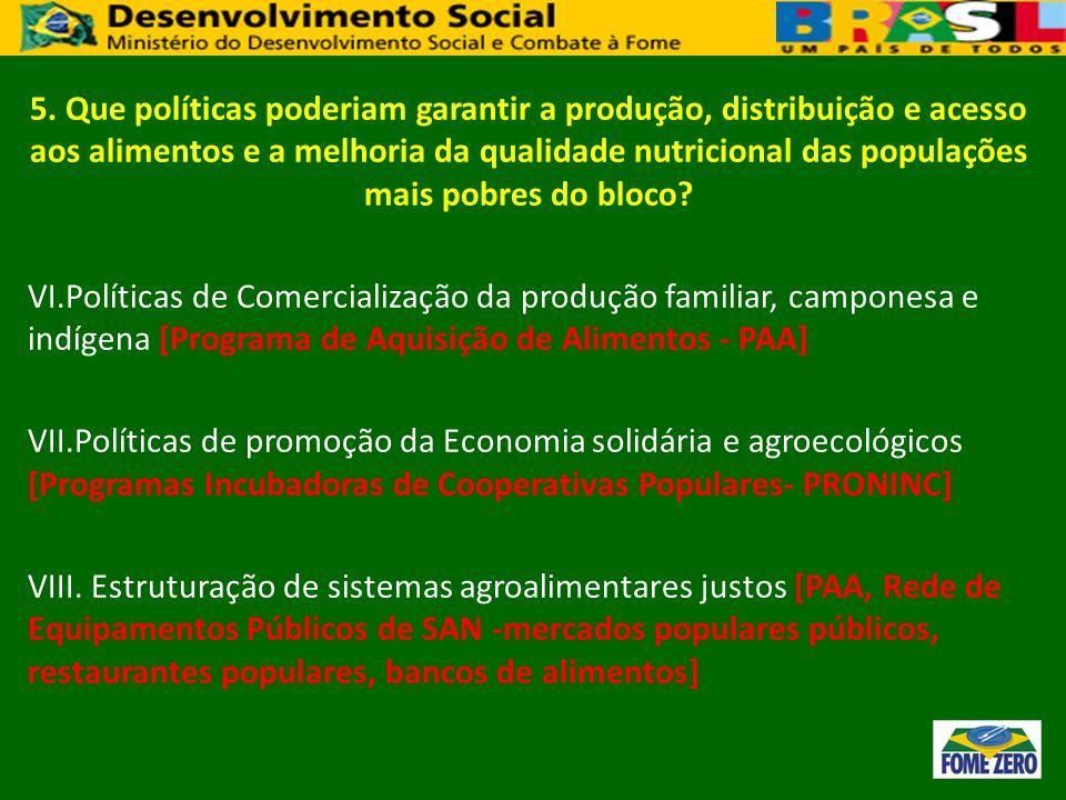 5. Que políticas poderiam garantir a produção, distribuição e acesso aos alimentos e a melhoria da qualidade nutricional das populações mais pobres do