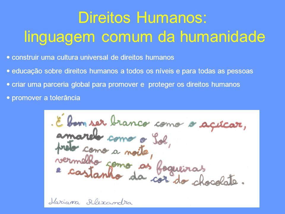 Direitos Humanos: linguagem comum da humanidade construir uma cultura universal de direitos humanos educação sobre direitos humanos a todos os níveis