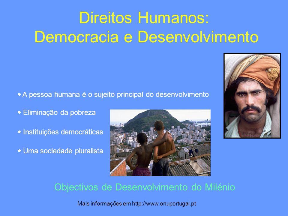 Direitos Humanos: Democracia e Desenvolvimento A pessoa humana é o sujeito principal do desenvolvimento Eliminação da pobreza Instituições democrática