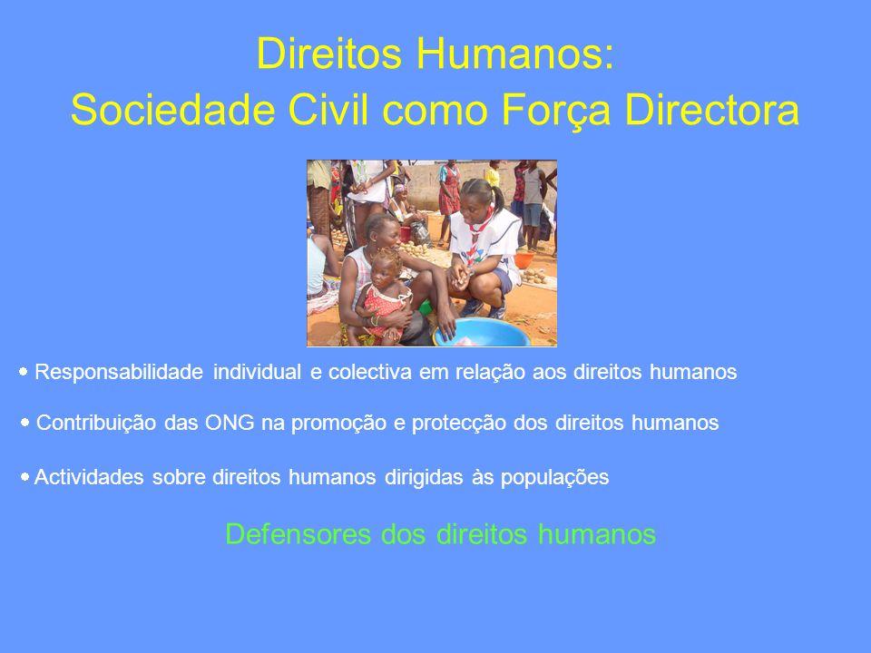 Direitos Humanos: Sociedade Civil como Força Directora Responsabilidade individual e colectiva em relação aos direitos humanos Contribuição das ONG na