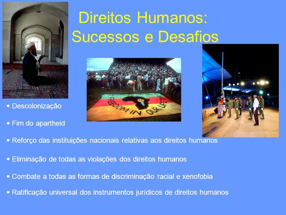 Direitos Humanos: Sucessos e Desafios Descolonização Fim do apartheid Reforço das instituições nacionais relativas aos direitos humanos Eliminação de