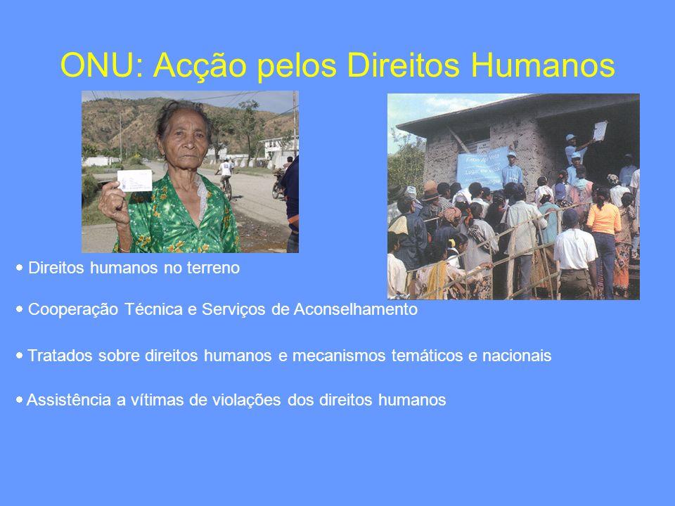 ONU: Acção pelos Direitos Humanos Direitos humanos no terreno Cooperação Técnica e Serviços de Aconselhamento Tratados sobre direitos humanos e mecani