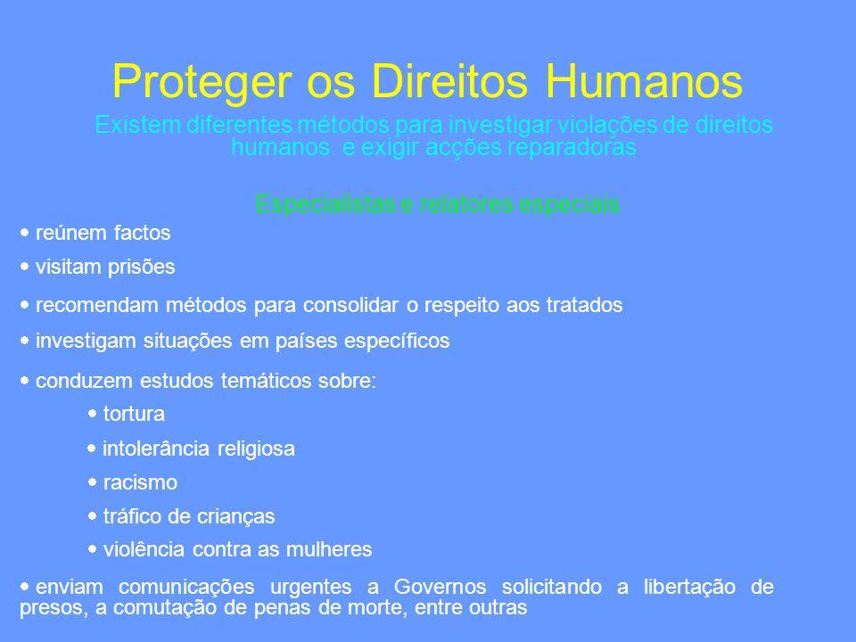 Existem diferentes métodos para investigar violações de direitos humanos e exigir acções reparadoras Especialistas e relatores especiais Proteger os D