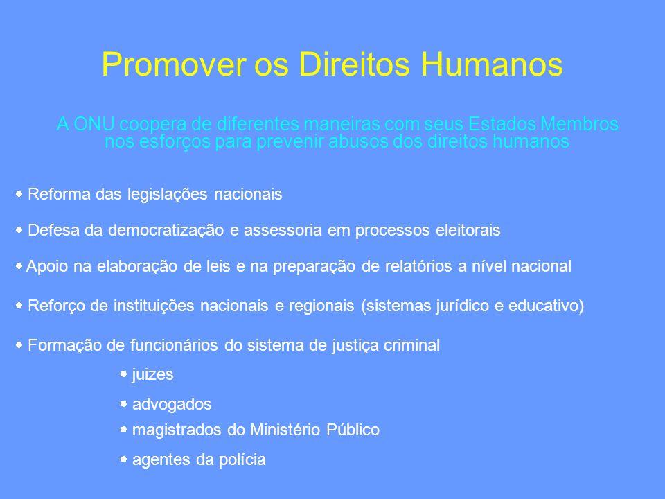 Promover os Direitos Humanos A ONU coopera de diferentes maneiras com seus Estados Membros nos esforços para prevenir abusos dos direitos humanos Refo