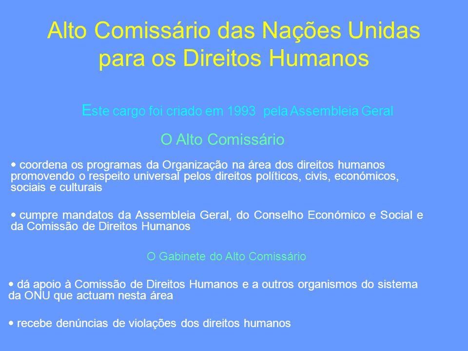 Alto Comissário das Nações Unidas para os Direitos Humanos E ste cargo foi criado em 1993 pela Assembleia Geral coordena os programas da Organização n