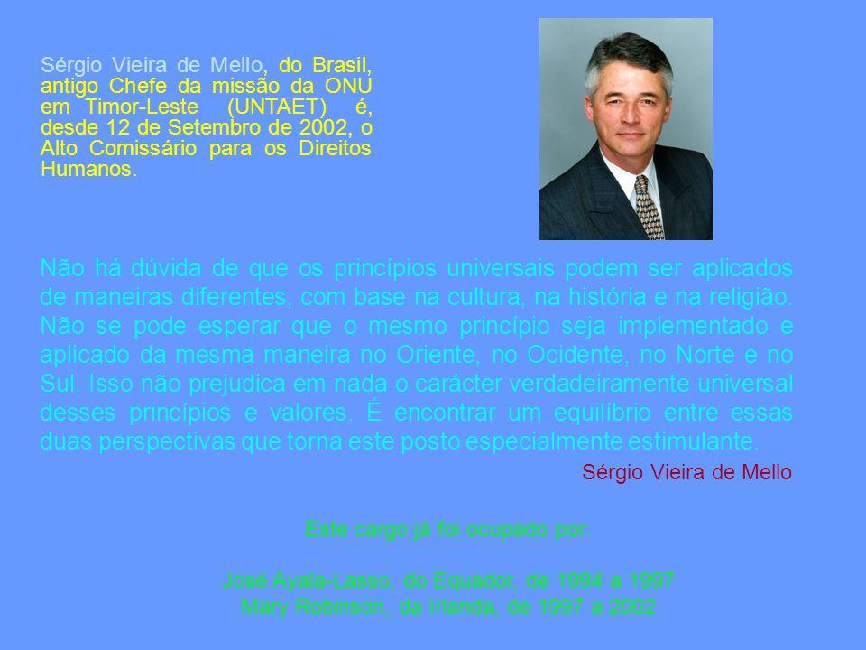 Este cargo já foi ocupado por: José Ayala-Lasso, do Equador, de 1994 a 1997 Mary Robinson, da Irlanda, de 1997 a 2002 Sérgio Vieira de Mello, do Brasi