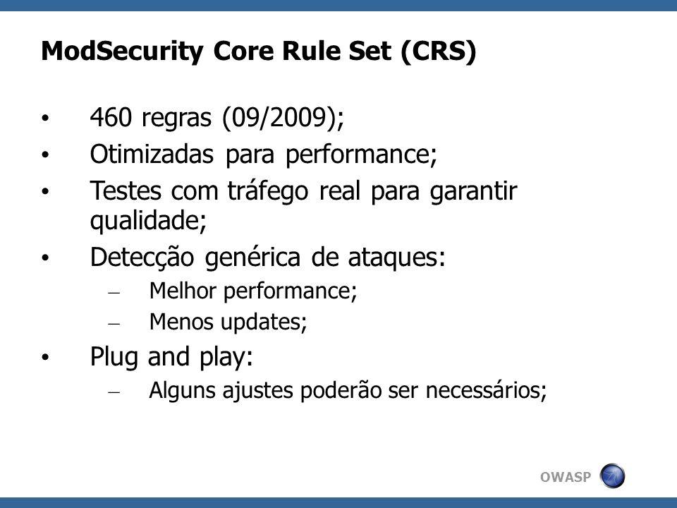 OWASP ModSecurity Core Rule Set (CRS) 460 regras (09/2009); Otimizadas para performance; Testes com tráfego real para garantir qualidade; Detecção gen