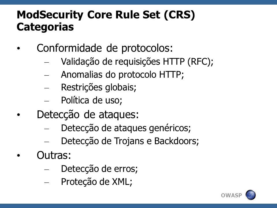 OWASP ModSecurity Core Rule Set (CRS) Categorias Conformidade de protocolos: – Validação de requisições HTTP (RFC); – Anomalias do protocolo HTTP; – R