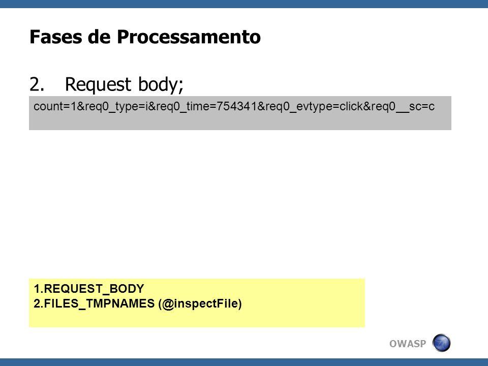 OWASP Fases de Processamento 2.Request body; count=1&req0_type=i&req0_time=754341&req0_evtype=click&req0__sc=c 1.REQUEST_BODY 2.FILES_TMPNAMES (@inspe