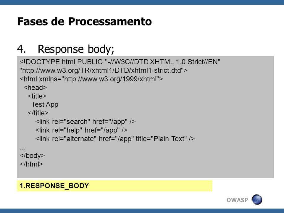 OWASP Fases de Processamento 4.Response body; Test App... 1.RESPONSE_BODY