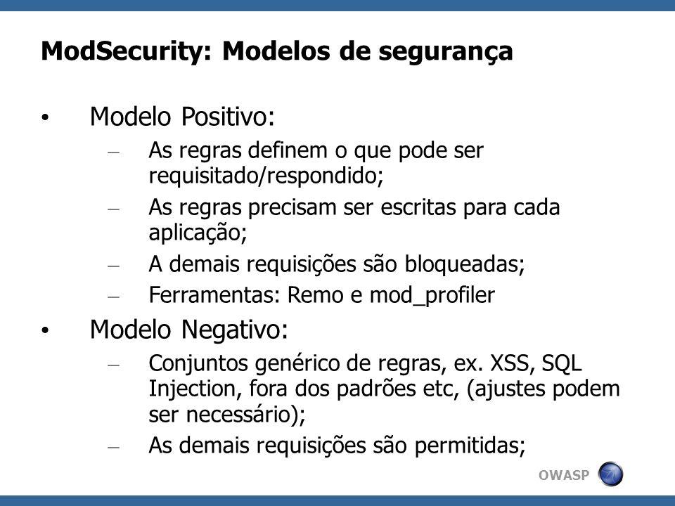 OWASP ModSecurity: Modelos de segurança Modelo Positivo: – As regras definem o que pode ser requisitado/respondido; – As regras precisam ser escritas
