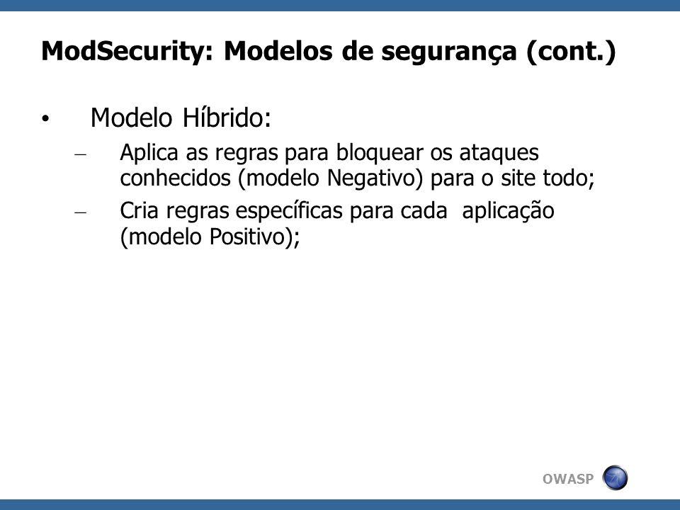 OWASP ModSecurity: Modelos de segurança (cont.) Modelo Híbrido: – Aplica as regras para bloquear os ataques conhecidos (modelo Negativo) para o site t