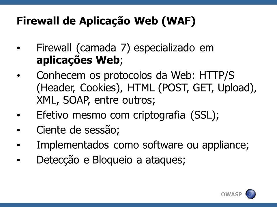 OWASP Elementos de segurança para Web FirewallIPSWAF Controle de acessoAlgumAlgumSim Detecção de protocolo HTTPAlgumSimSim Bloqueio de DoS (sob HTTP)AlgumAlgumAlgum Identificação de ataques WebNãoAlgumSim Detecta ataques em sessão HTTP (múltiplas requisições)NãoNãoSim Suporte a tráfego criptografado (SSL)NãoNãoSim Monitoração de erros do servidor webNãoNãoSim Transcrição das sessões http(s)NãoAlgumSim