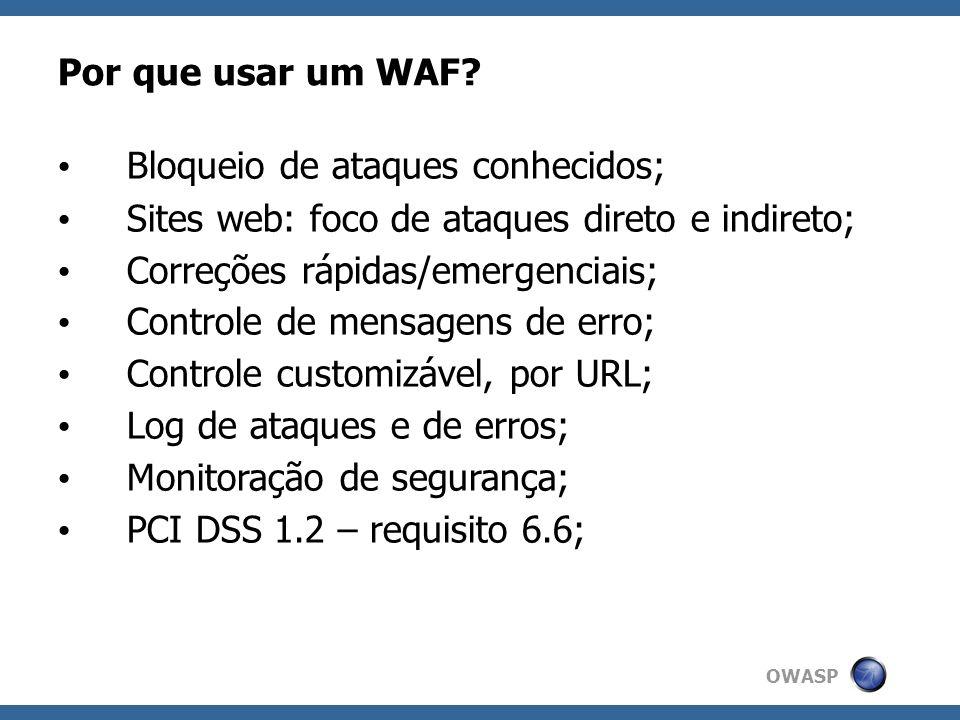 OWASP Por que usar um WAF? Bloqueio de ataques conhecidos; Sites web: foco de ataques direto e indireto; Correções rápidas/emergenciais; Controle de m