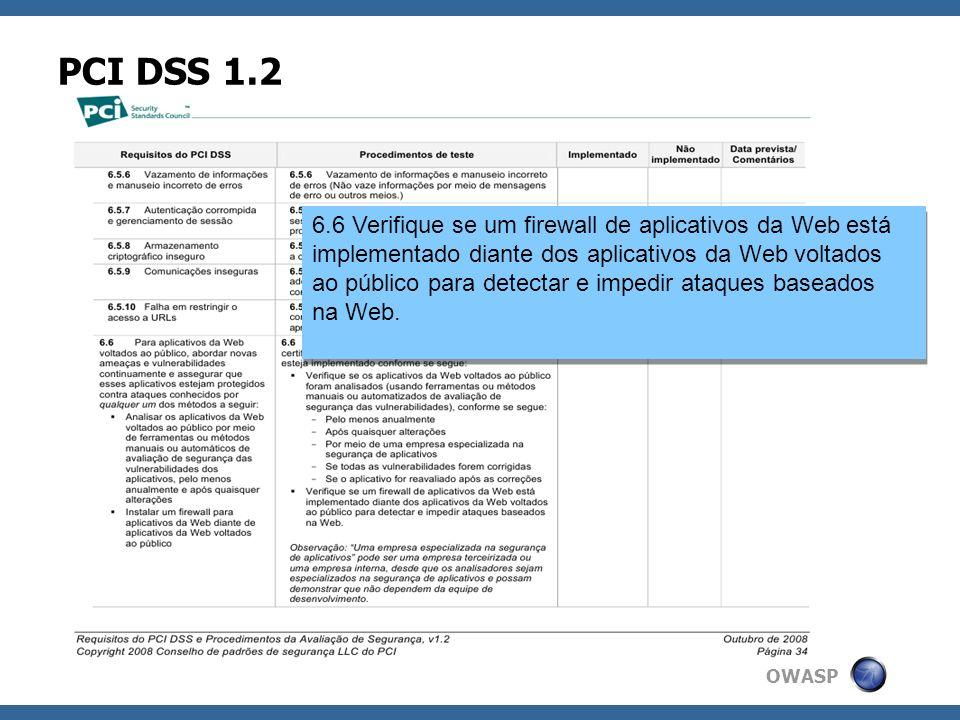 OWASP PCI DSS 1.2 6.6 Verifique se um firewall de aplicativos da Web está implementado diante dos aplicativos da Web voltados ao público para detectar