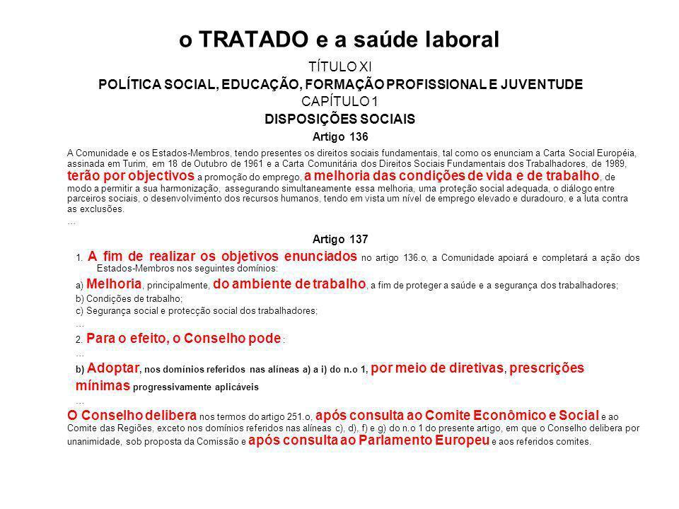 o TRATADO e a saúde laboral TÍTULO XI POLÍTICA SOCIAL, EDUCAÇÃO, FORMAÇÃO PROFISSIONAL E JUVENTUDE CAPÍTULO 1 DISPOSIÇÕES SOCIAIS Artigo 136 A Comunidade e os Estados-Membros, tendo presentes os direitos sociais fundamentais, tal como os enunciam a Carta Social Européia, assinada em Turim, em 18 de Outubro de 1961 e a Carta Comunitária dos Direitos Sociais Fundamentais dos Trabalhadores, de 1989, terão por objectivos a promoção do emprego, a melhoria das condições de vida e de trabalho, de modo a permitir a sua harmonização, assegurando simultaneamente essa melhoria, uma proteção social adequada, o diálogo entre parceiros sociais, o desenvolvimento dos recursos humanos, tendo em vista um nível de emprego elevado e duradouro, e a luta contra as exclusões.