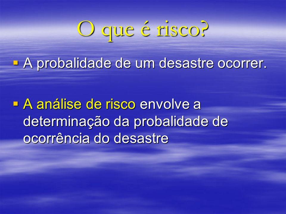 O que é risco? A probalidade de um desastre ocorrer. A probalidade de um desastre ocorrer. A análise de risco envolve a determinação da probalidade de