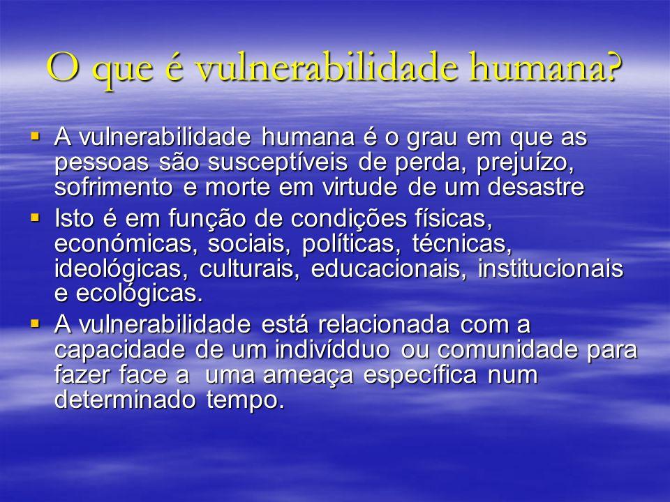 O que é vulnerabilidade humana? A vulnerabilidade humana é o grau em que as pessoas são susceptíveis de perda, prejuízo, sofrimento e morte em virtude