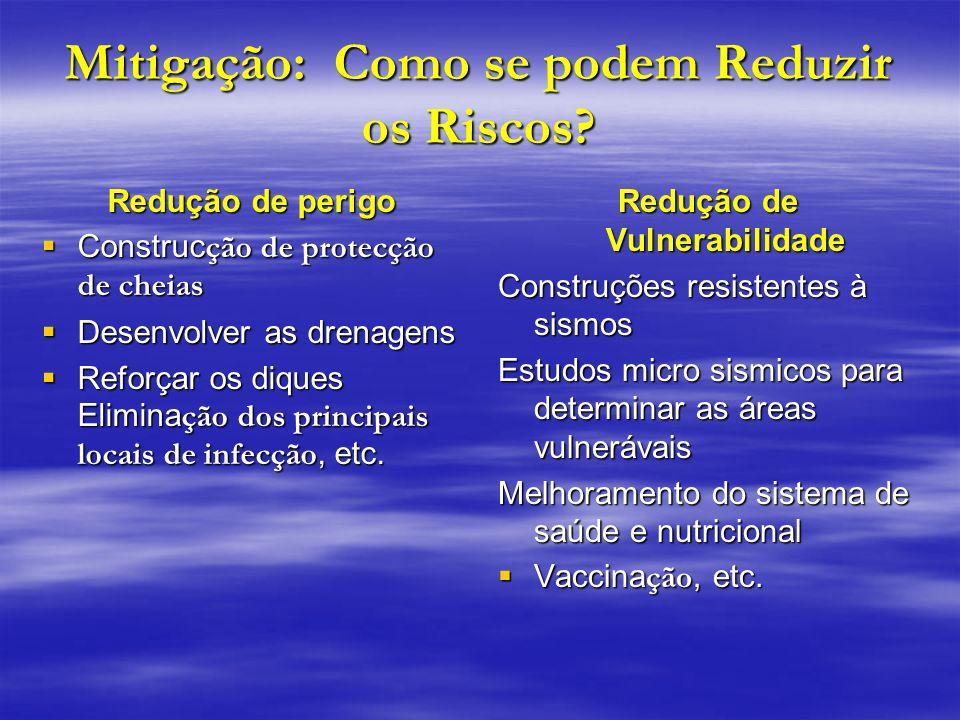Mitigação: Como se podem Reduzir os Riscos? Redução de perigo Construc ção de protecção de cheias Construc ção de protecção de cheias Desenvolver as d