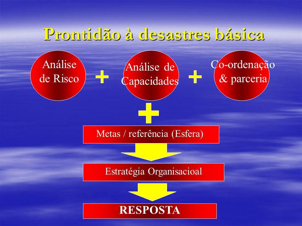 Prontidão à desastres básica Análise de Risco Análise de Capacidades Co-ordenação & parceria Metas / referência (Esfera) Estratégia Organisacioal RESP