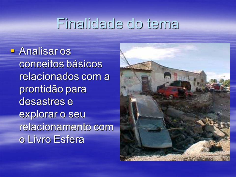 Finalidade do tema Analisar os conceitos básicos relacionados com a prontidão para desastres e explorar o seu relacionamento com o Livro Esfera Analis
