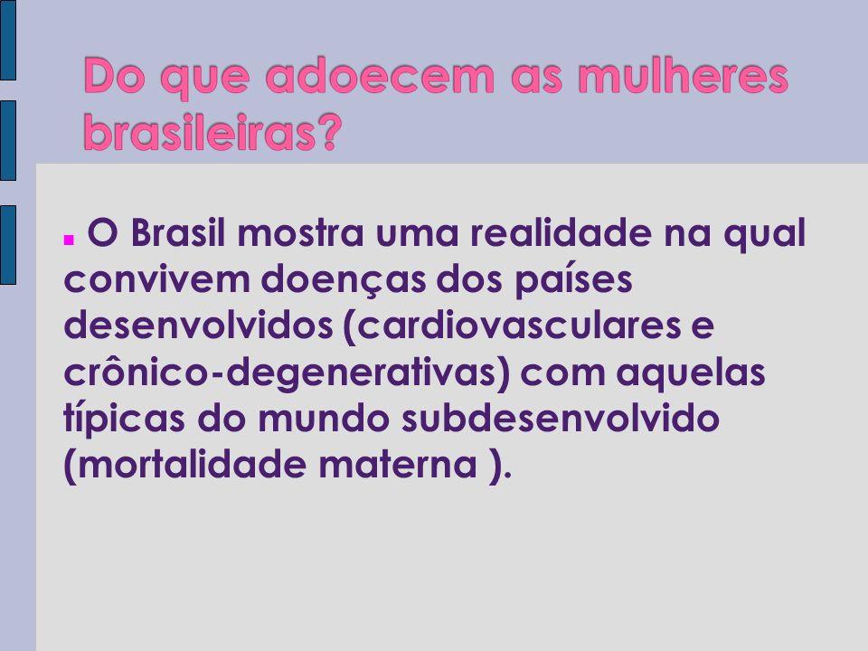 O Brasil mostra uma realidade na qual convivem doenças dos países desenvolvidos (cardiovasculares e crônico-degenerativas) com aquelas típicas do mund