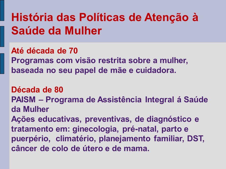 História das Políticas de Atenção à Saúde da Mulher Até década de 70 Programas com visão restrita sobre a mulher, baseada no seu papel de mãe e cuidad