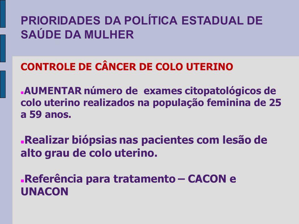 PRIORIDADES DA POLÍTICA ESTADUAL DE SAÚDE DA MULHER CONTROLE DE CÂNCER DE COLO UTERINO AUMENTAR número de exames citopatológicos de colo uterino reali