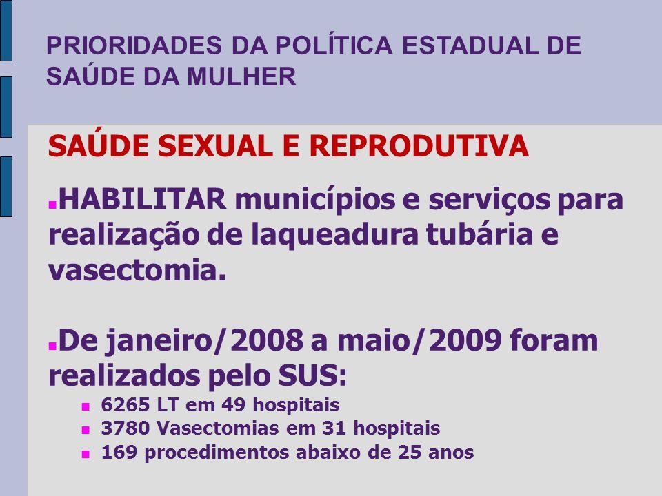 PRIORIDADES DA POLÍTICA ESTADUAL DE SAÚDE DA MULHER SAÚDE SEXUAL E REPRODUTIVA HABILITAR municípios e serviços para realização de laqueadura tubária e