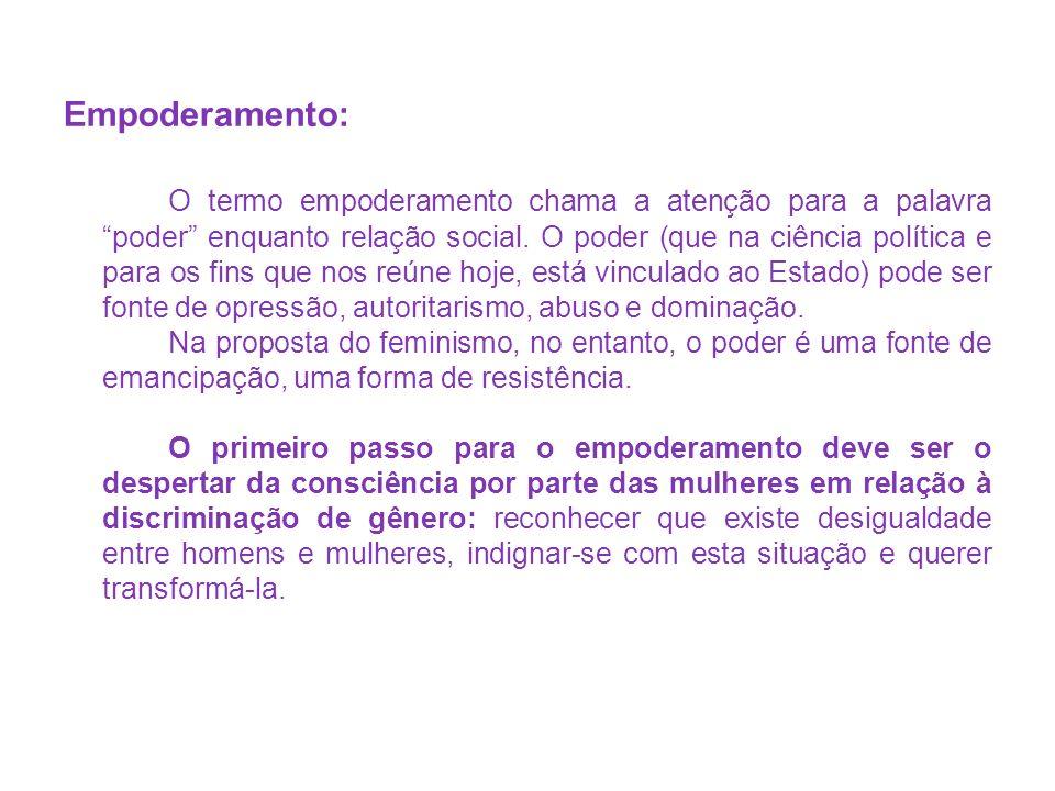 Fontes: BUARQUE, Cristina.Introdução ao Feminismo.