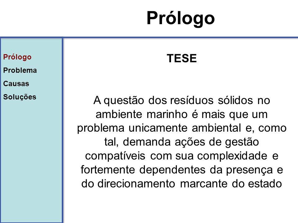 Prólogo Problema Causas Soluções: - Modelo teórico - Convenções internacionais - Políticas públicas - Iniciativa privada - Tecnologia e inovação Prólogo Problema Causas Soluções: - Modelo teórico - Convenções internacionais - Políticas públicas - Iniciativa privada - Tecnologia e inovação Soluções POLÍTICAS PÚBLICAS Projeto de Lei 203/91 ou PL1991/07 – Política Nacional de Resíduos Sólidos - PNRS Instrumentos/Princípios: Plano de gestão integrada de resíduos; Logística reversa; Análise do ciclo de vida dos produtos; Poluidor pagador (AIA); Incentivos a reutilizaçao e reciclagem; Proibições de lançamentos em solo e corpos hídricos.
