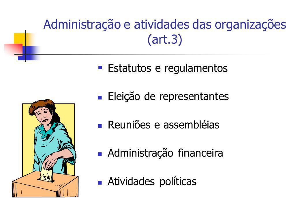 Administração e atividades das organizações (art.3) Estatutos e regulamentos Eleição de representantes Reuniões e assembléias Administração financeira