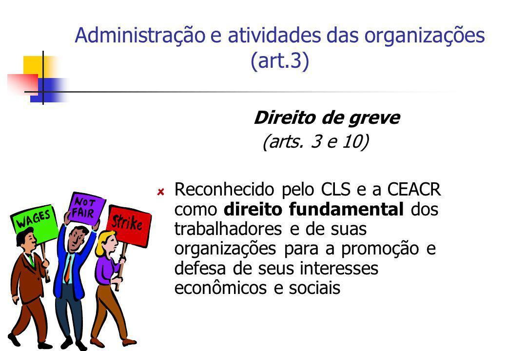 Administração e atividades das organizações (art.3) Direito de greve (arts. 3 e 10) Reconhecido pelo CLS e a CEACR como direito fundamental dos trabal