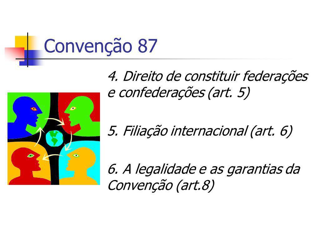 Convenção 87 4. Direito de constituir federações e confederações (art. 5) 5. Filiação internacional (art. 6) 6. A legalidade e as garantias da Convenç