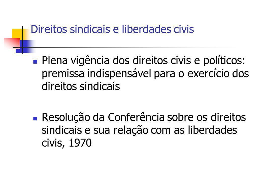 Direitos sindicais e liberdades civis Plena vigência dos direitos civis e políticos: premissa indispensável para o exercício dos direitos sindicais Re