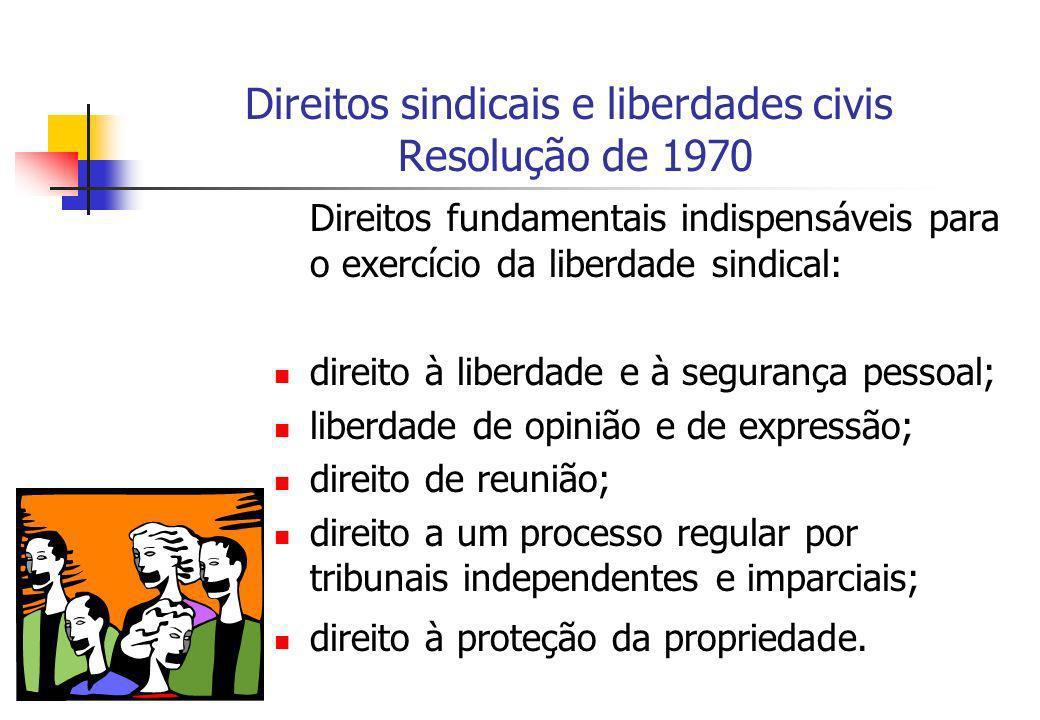 Direitos sindicais e liberdades civis Resolução de 1970 Direitos fundamentais indispensáveis para o exercício da liberdade sindical: direito à liberda