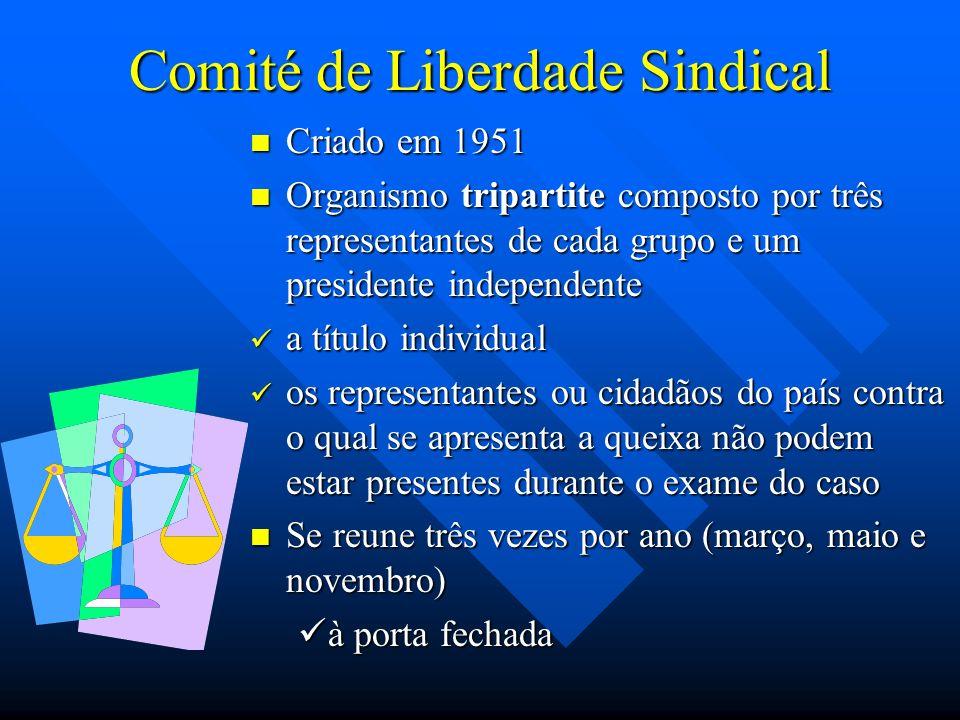 Comité de Liberdade Sindical Criado em 1951 Organismo tripartite composto por três representantes de cada grupo e um presidente independente a título