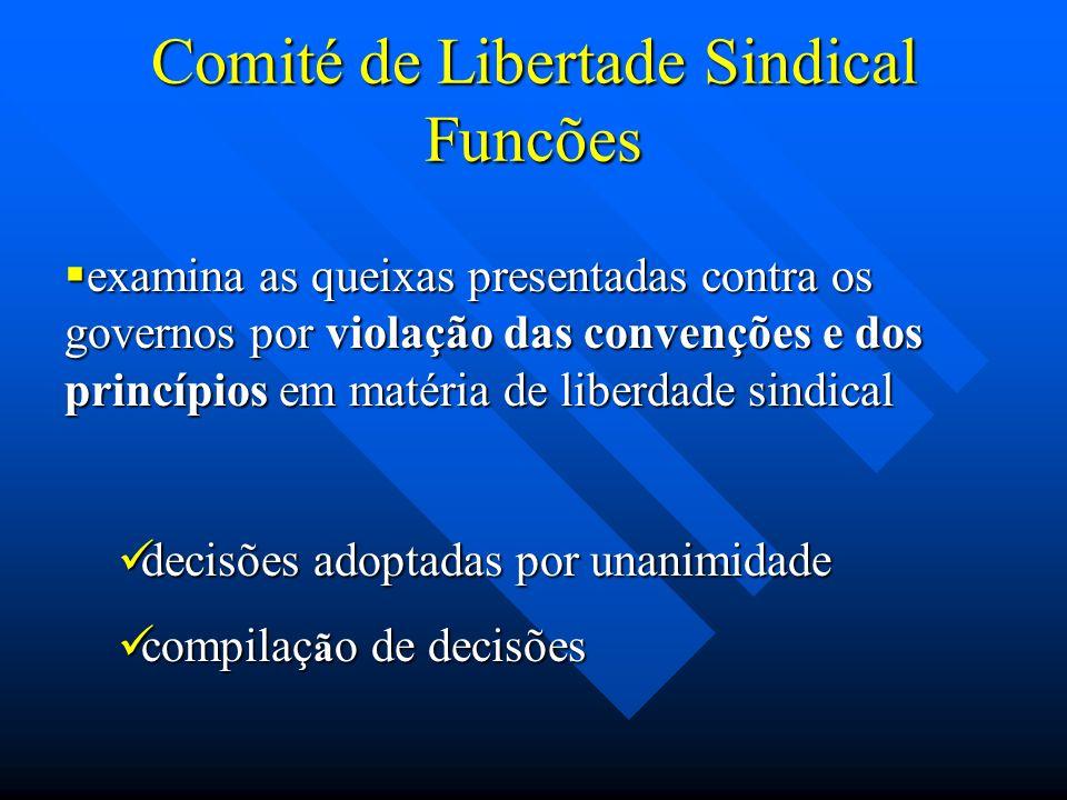 Comité de Libertade Sindical Funcões examina as queixas presentadas contra os governos por violação das convenções e dos princípios em matéria de libe
