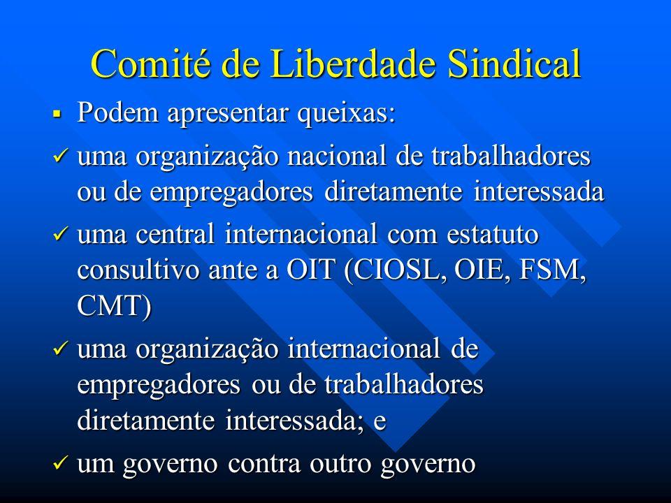 Comité de Liberdade Sindical Podem apresentar queixas: Podem apresentar queixas: uma organização nacional de trabalhadores ou de empregadores diretame