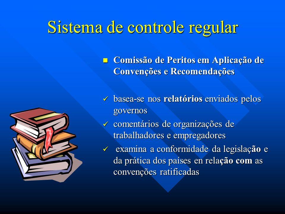 Comissão de Peritos em Aplicação de Convenções e Recomendações Composição: 20 juristas de reconhecido renome no campo jurídico; Se reúne uma vez por ano em Genebra Elabora um relatório com observações sobre a aplicação por parte dos governos de todas as convenções ratificadas