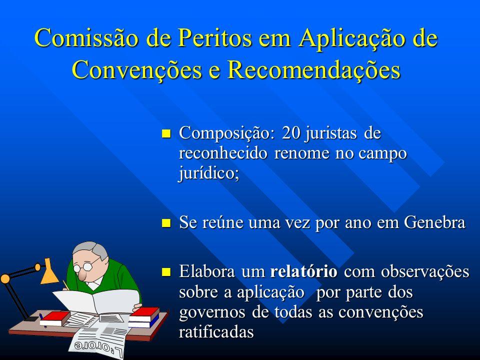 Comissão de Peritos em Aplicação de Convenções e Recomendações Composição: 20 juristas de reconhecido renome no campo jurídico; Se reúne uma vez por a
