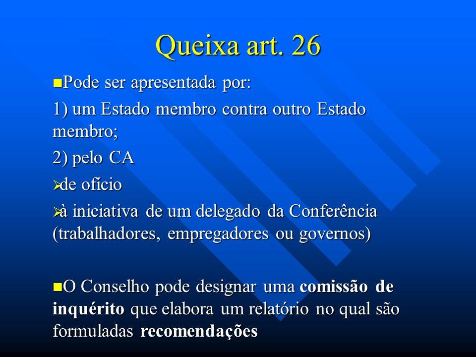 Queixa art. 26 Pode ser apresentada por: Pode ser apresentada por: 1) um Estado membro contra outro Estado membro; 2) pelo CA de ofício de ofício à in